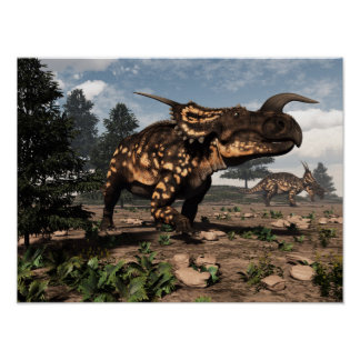 Einiosaurus dinosaurs in the desert - 3D render Poster