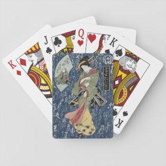 Eisen Geisha in Green Kimono Playing Cards