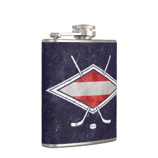 Eishockey Ice Hockey Austria Flag Logo Hip Flask