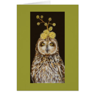 Ekewaka the pueo owl with acacia kona hat card