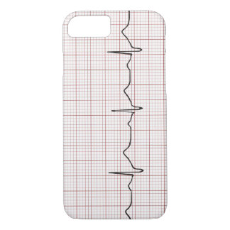 EKG heartbeat on graph paper, PhD (doctor) pulse iPhone 8/7 Case