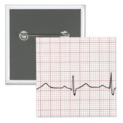 EKG heartbeat on graph paper, pulse beating Pinback Button