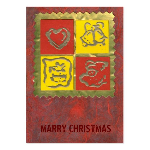 ekos red-yellow Merry Christmas Gift Tag Business Card Templates