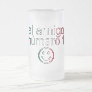 El Amigo Número 1 in Mexican Flag Colors for Boys Frosted Glass Beer Mug