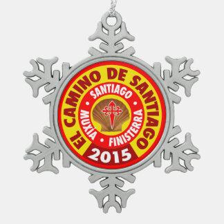 El Camino De Santiago 2015 Snowflake Pewter Christmas Ornament