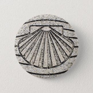 El Camino shell, pavement, Spain 6 Cm Round Badge