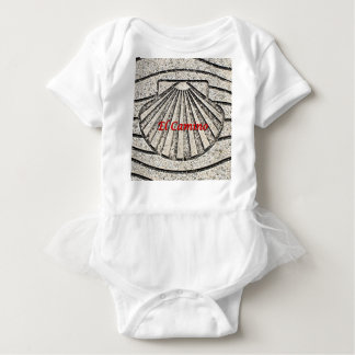 El Camino shell, pavement, Spain (caption) Baby Bodysuit