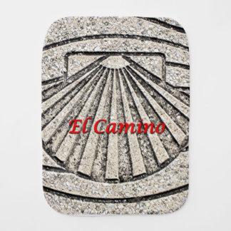 El Camino shell, pavement, Spain (caption) Burp Cloth
