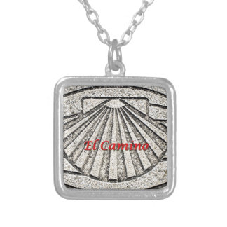 El Camino shell, pavement, Spain (caption) Silver Plated Necklace