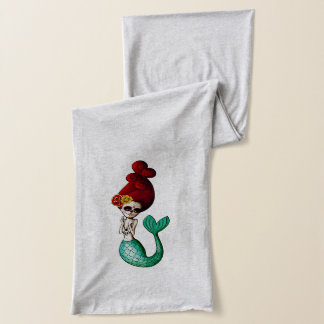 El Dia de Los Muertos Beautiful Mermaid Girl Scarf