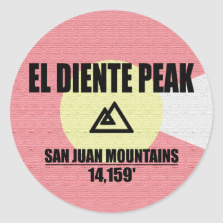 El Diente Peak Round Sticker
