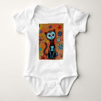 EL GATO DIA DE LOS MUERTOS CAT PAINTING BABY BODYSUIT