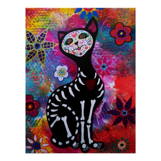 EL GATO II DAY OF THE DEAD PAINTING POSTER