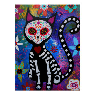 EL GATO III DAY OF THE DEAD PAINTING POSTER