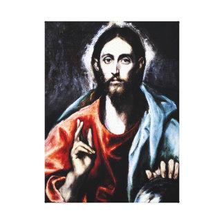El Greco Christ Blessing Canvas Wrap Canvas Print