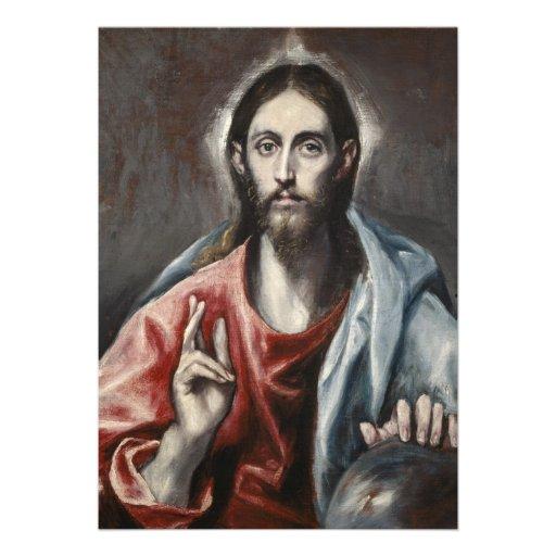 El Greco - Christ Blessing Personalized Invite