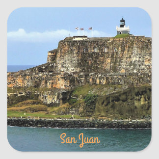 El Morro Guarding San Juan Bay Entrance Square Sticker