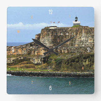 El Morro Guarding San Juan Bay Entrance Square Wall Clock