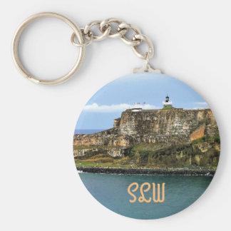 El Morro Guarding San Juan Bay Monogrammed Key Ring