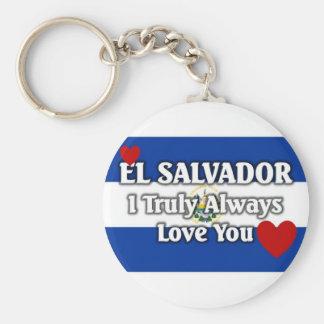 El Salvador Basic Round Button Key Ring