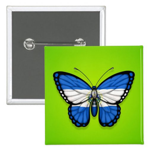 El Salvador Butterfly Flag on Green Pinback Buttons