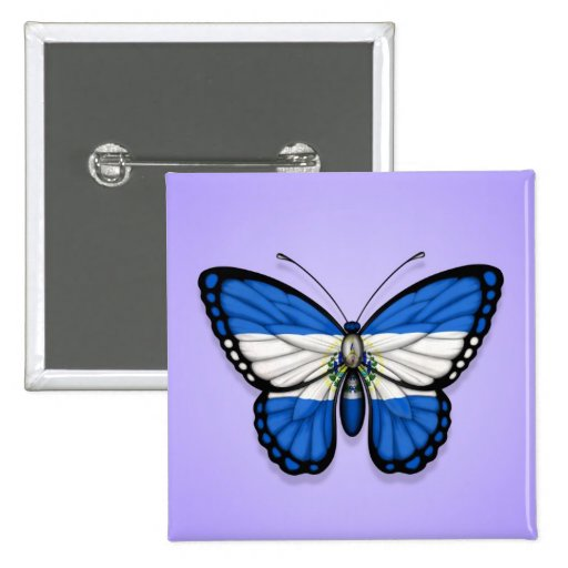 El Salvador Butterfly Flag on Purple Pinback Buttons