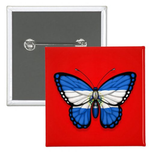 El Salvador Butterfly Flag on Red Pinback Button