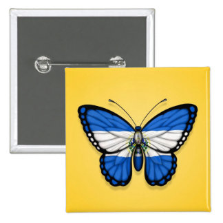 El Salvador Butterfly Flag on Yellow Pin