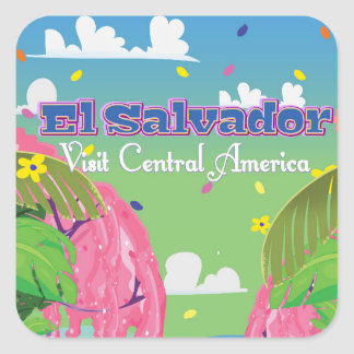El Salvador Cartoon Travel print. Square Sticker
