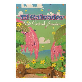 El Salvador Cartoon Travel print. Wood Print