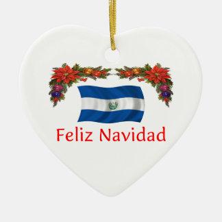 El Salvador Christmas Ceramic Heart Decoration