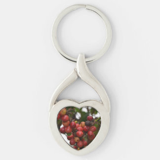 El Salvador Coffee Beans Silver-Colored Twisted Heart Key Ring