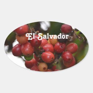 El Salvador Coffee Beans Oval Stickers