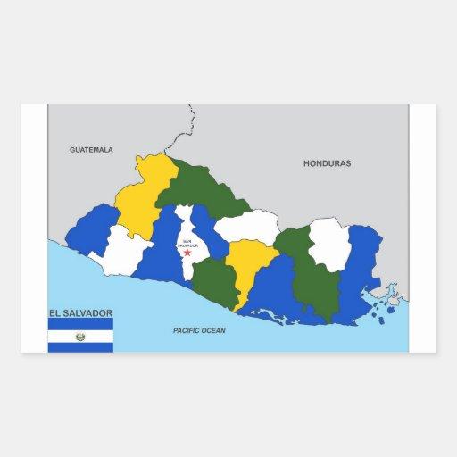 el salvador country political map flag rectangular stickers