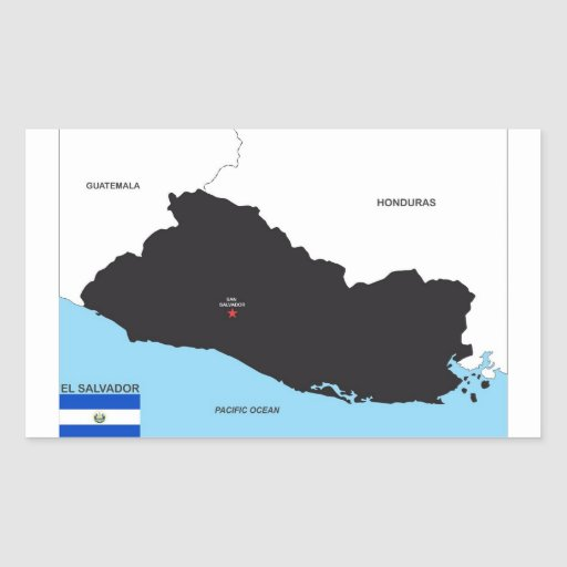 el salvador country political map flag rectangle sticker