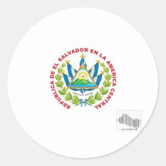 el salvador emblem and barcode round sticker