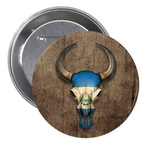El Salvador Flag Bull Skull on Wood Effect Pins