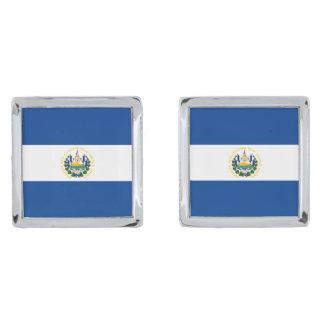 El Salvador Flag Cufflinks Silver Finish Cufflinks