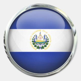 El Salvador Flag Glass Ball Round Sticker