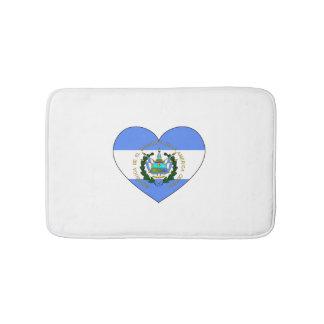 El Salvador Flag Heart Bath Mat