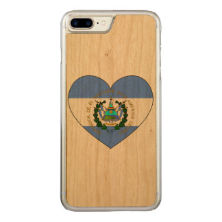 El Salvador Flag Heart Carved iPhone 8 Plus/7 Plus Case