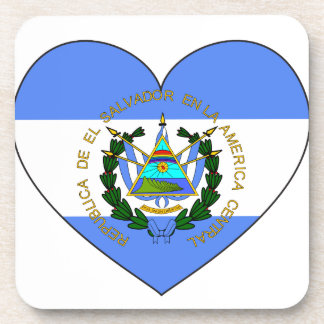 El Salvador Flag Heart Coaster