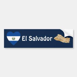 El Salvador Flag Heart + Map Bumper Sticker