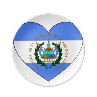 El Salvador Flag Heart Plate