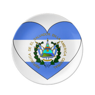 El Salvador Flag Heart Porcelain Plate