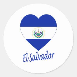 El Salvador Flag Heart Round Stickers