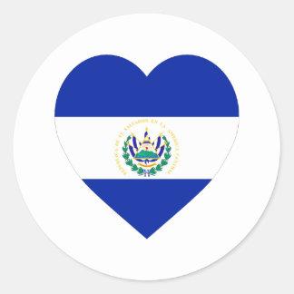 El Salvador Flag Heart Stickers