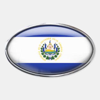 El Salvador Flag in Glass Oval (pack of 4) Oval Sticker