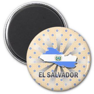 El Salvador Flag Map 2.0 6 Cm Round Magnet