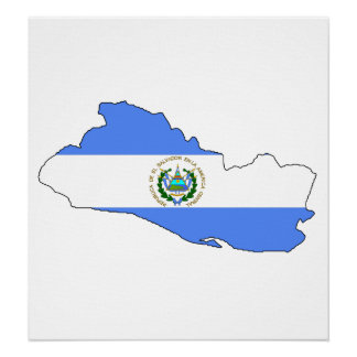 El Salvador Flag Map full size Poster